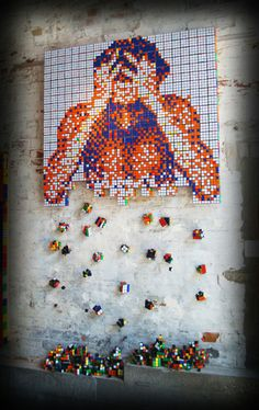 These Pixelated Paintings Are Actually Made Of Thousands Of Rubik's Cubes