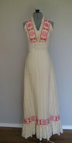 1960s halter maxi dress / Ecru Eyelet Maxi Dress. $49.00, via Etsy.
