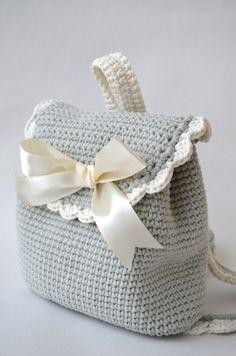 Crochet backpack children knitted Backpack by IraSinelnikUA Crochet Backpack Pattern, Granny Square Bag, Bracelet Crafts, Embroidered Bag, Chunky Crochet, Crochet Purses, Knitted Bags, Crochet Accessories, Handmade Bags