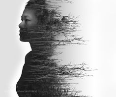 Double exposure portrait of young woman and dried forest by lostationfoto