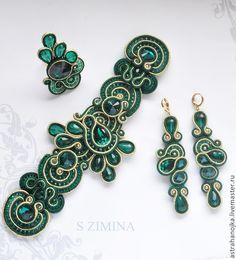 Купить Сутажный комплект Изумрудный - зелёный, сутажные украшения, сутажный комплект, зеленый сутажный комплект