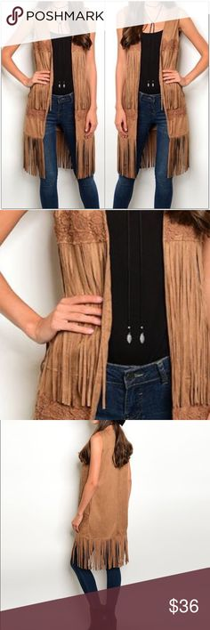 """Faux Suede Fringe Vest Faux Suede Fringe Vest  ✨Sleeveless ✨Open Front ✨Fringe with matching embroidery detail ✨Fully lined  Measurements: Small-     Bust: 34""""  Length: 40"""" Medium- Bust: 36"""" Length: 40"""" Large-     Bust: 38"""" Length: 40""""  Lining is 100% Polyester Vest is 90% Polyester 10% Spandex  ❗️Price is firm unless bundled❗️ #CN309915 523 Boutique Jackets & Coats Vests"""