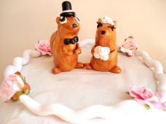 Chipmunk Wedding Cake Topper Bride and Groom Anniversary Cake Topper by MagicalGifties on Etsy