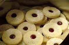 Spitzbuben German Christmas Cookie that is buttery heaven! We make these as a tradition for Christmas or Valentine's Day ( cut into Hearts )
