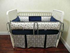 custom baby bedding 6 pc set woodland, deer, forest, lodge, grey