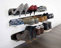 j-me Horizontal Shoe Rack – Wall Mounted Shoe Organizer Keeps Heels, Boots, Sneakers & Sandals Off The Floor. A Great Shoe Storage Solution for Your Entryway Or Closet. 1 Tier Shoe Rack, Wall Shoe Rack, Wall Mounted Shoe Rack, Shoe Rack With Shelf, Rack Shelf, Shoe Rack Organization, Shoe Organizer, Shoe Storage Solutions, Storage Ideas