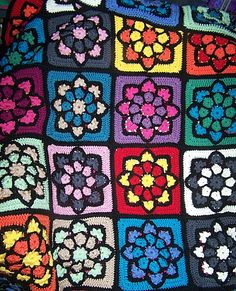 Ravelry: JulieAnny's Stained Glass Afghan Square pattern by Julie Yeager....so many beautiful afghans with this one block!