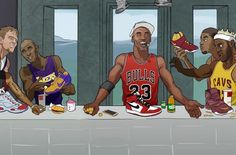 This amazing Last Supper piece created for the Ballzy store in Latvia features Michael Jordan, Kobe Bryant, LeBron James, Allen Iverson and more. Young Kobe Bryant, Kobe Bryant Nba, Nba Players, Basketball Players, Basketball Art, Basketball Tattoos, Basketball Legends, Love And Basketball, Michael Jordan Last Game