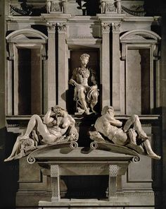 # The Tomb of Giuliano de 'Medici, duke of Nemours is a sculptural and architectural complex in marble by Michelangelo Buonarroti, dated to and is part of the decoration of the New Sacristy in San Lorenzo in Florence. Miguel Angel, Italian Renaissance, Renaissance Art, Voyage Rome, Firenze Italy, Italy Holidays, Oeuvre D'art, Art And Architecture, Sculpture Art