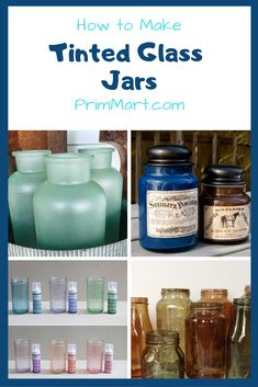Did you know you can re-purpose empty glass jars. Learn how to tint glass jars permanently and create beautiful jars and vases. Did you know you can re-purpose empty glass jars. Learn how to tint glass jars permanently and create beautiful jars and vases. Wine Bottle Crafts, Mason Jar Crafts, Mason Jar Diy, Glass Craft, Bottle Art, Tinted Mason Jars, Painting Glass Jars, How To Paint Glass, Jars