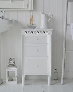 White bathroom cabinet with drawers for bathroom toiletries and make up from The White Lighthouse. & 98 best Bathroom Cabinets and Storage images on Pinterest | Bathroom ...