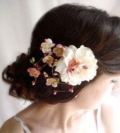#Etsy pink cherry blossom hair clip