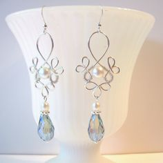 Wire Wrapped Bridal Earrings  Blue Crystal by TheWireRose on Etsy, $20.00