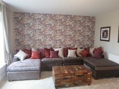 Custom made sofa by Brian S Nolan,with Andrew Martin wallpaper as back drop. Cozy Furniture, Townhouse, Custom Made, My House, Backdrops, Condo, Relax, Sofa, Interiors