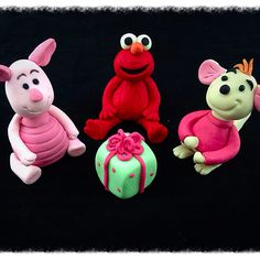 Piglet, elmo and roo fondant cake toppers from Sesame Street and Winnie the Pooh
