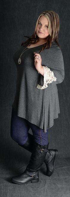 b261bc9a003db3 Charcoal Crochet Cuff Tunic Top