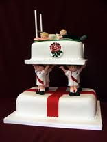 Obviously you would need to change two of the men to Welsh players but don't blame me if that side falls down; Zombie Wedding Cakes, Unique Wedding Cakes, Wedding Cake Designs, 40th Cake, 40th Birthday Cakes, Rugby Wedding, Rugby Cake, Sport Cakes, Surprise Wedding