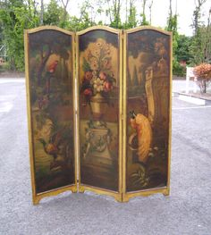 Three panel oil on canvas Victorian screen room divider c1880.  There is a old Sotheby lable on the reverse.