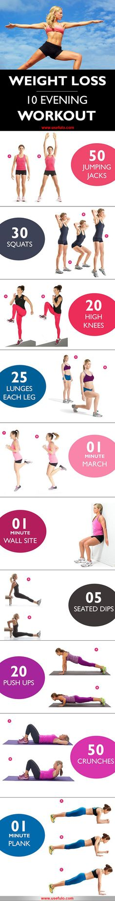 10 effective fat burn evening workout. Do these workout daily and lose weight fast. Best Weight Loss Exercises.