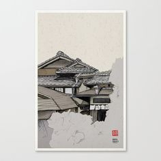 Vintage Gion Stretched Canvas by Philipp Zurmöhle - $85.00