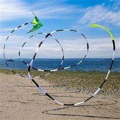 Black/White 75 Foot Kite Tube Tail - mesmerizing! #PrismKites