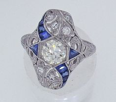 Amazing Art Deco Platinum Diamond  Sapphire Ring, Circa 1925   #vintage #Edwardian