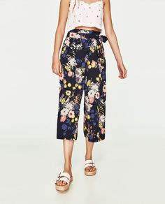-% ZARA Cropped Floral Palazzo Trousers Culottes Size M UK 10 BNWT