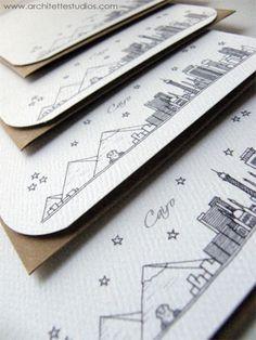Cairo/Giza, Egypt - Africa - City Skyline Series - Notecards (8). $18.50, via Etsy.