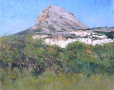 Cuadro al oleo de un paisaje de Jávea y el monte Montgó en el que se aprecian algunos naranjos y está pintado con estilo impresionista.
