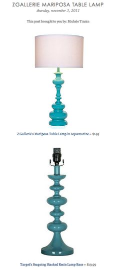 ZGALLERIE MARIPOSA TABLE LAMP vs TARGET'S SEAGOING STACKED RESIN LAMP BASE
