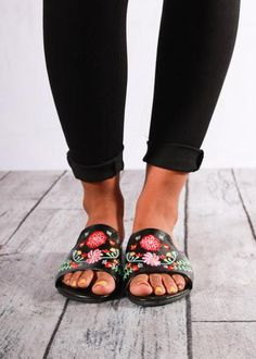 9a4c0ed3335f Emily EmbroideredSildes Black
