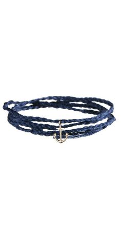 "Anchor Bracelet: 18k gold anchor charm on braided cotton floss.  The 16"" long bracelet is adjustable by tying new knots."