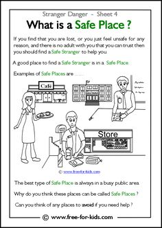 Kids Safety DIY - Practiced Stranger Danger Skills with Your Children? - As a society, it's all of our responsibility to protect children. Please teach and practice with your children stranger danger skills. Teaching Safety, Teaching Kids, Kindergarten Worksheets, Worksheets For Kids, Art Worksheets, Preschool Kindergarten, Protective Behaviours, Safety Week, Safety Tips