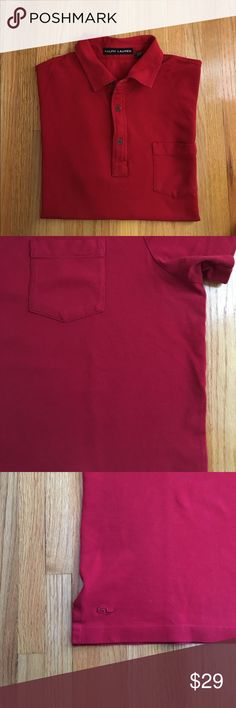 Ralph Lauren Mesh Short Sleeve Polo Shirt - Red Soft lightweight supima cotton with a tad of elastane (3%) for stretchy comfort. Three-button placket and front pocket on left side. Tag says Size XL but runs small and fits more like an L. Worn a couple of times, great condition. Available in Navy (listed separately). Very minor pilling on left side under pocket, hardly noticeable (see pic 2). Ralph Lauren Shirts Polos