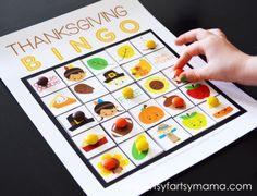 Free Printable Thanksgiving Bingo at artsyfartsymama.com #Thanksgiving #freeprintable #printable #bingo