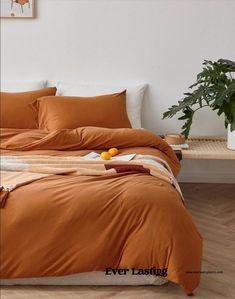 Ever Lasting Orange Duvet Cover Orange Duvet Cover Burnt   Etsy Yellow Bedding Sets, Orange Comforter, Orange Duvet Covers, Cotton Bedding Sets, Best Bedding Sets, Queen Bedding Sets, Cotton Duvet, Comforter Sets, Cotton Fabric