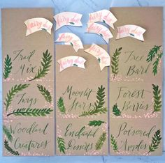 Fairy Birthday Party Enchanted Forest Leaves Pink Flowers Ribbons Signs Couture Handmade Art by: Pigment & Parchment