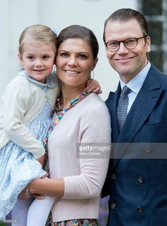 Crown Princess Victoria of Sweden and Prince Daniel, Duke of Vastergotland with Princess Estelle of Sweden at the 38th birthday celebrations for Crown Princess Victoria at Solliden on July 14, 2015 in Oland, Sweden.