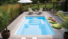15 Trendy ideas for patio piscine creusee Small Backyard Design, Backyard Pool Designs, Swimming Pools Backyard, Swimming Pool Designs, Backyard Ideas, Barn Pool, Small Pools, Dream House Exterior, Parasol