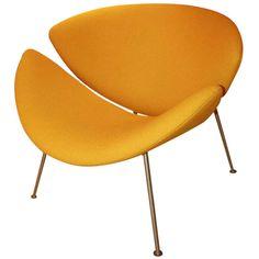 Slice Chair by Pierre Paulin, Artifort. Vintage Orange Slice Chair by Pierre Paulin (F 437), re upholstered in yellow Kvadrat fabric, ca.1960