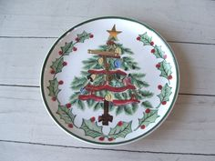 Mid Century Lefton Christmas Tree Serving Plate with brass handle by lookonmytreasures on Etsy