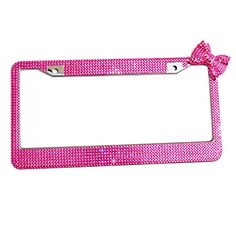 Qinsuee 12 Row Handmade Waterproof Rhinestones Stainless Metal Bling Peachblow License Plate Frames for Women  Peachblow with Bowknot >>> To view further for this item, visit the image link.Note:It is affiliate link to Amazon.