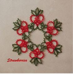 When I designed this pattern in white, I thought it looked like pineapples, so I named it Mele Kalikimaka. Imagine my surprise when I found out it was Strawberries!  You can make this snowflake or tasty confection with or without beads. It includes instructions for working with beads.