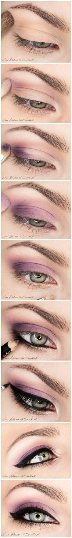 Lavender lilac pinkish eye shadow and liner eye make up tutorial
