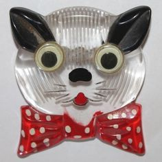 Vintage Bakelite Lucite Kitty Cat with Googly Eyes Red Bow Brooch Pin