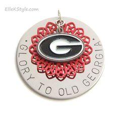 """University of Georgia Bulldogs"" Personalized Hand-stamped Pendant UGA - Jewelry"