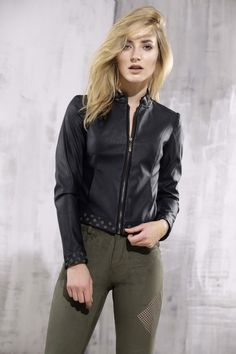 Black leather jacket with khaki openwork details – Malubi.co Fashion for elegant woman who loves premium label.