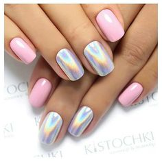 Pink and chrome/rainbow nails. Simple but interesting. I love it! I love that shade of light pink too.