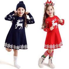 New Year Girls Knitted Dress Autumn Winter Clothes Reindeer Kids Dress for Little Girl Princess Cotton Warm Christmas Dresses Warm Outfits, Boy Outfits, Winter Outfits, Winter Clothes, Girls Knitted Dress, Knit Dress, Kids Christmas Outfits, Christmas Dresses, Christmas Girls