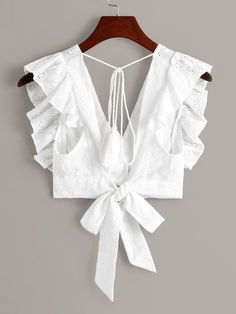 Shop Eyelet Embroidery Ruffle Cuff Tie Back Blouse at ROMWE, discover more fashion styles online. Blouse Designs Catalogue, Stylish Blouse Design, Fancy Blouse Designs, Blouse Neck Designs, Blouse Patterns, Blouse Styles, Blouses For Women, Fashion Outfits, Clothes